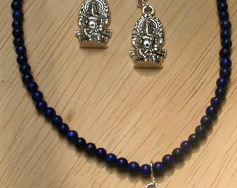 Lapis Lazuli With Ganesh Pendant And Earrings