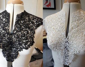 A Black or white bridal floral lace collar applique / V shape neckline collar motif is for sale. Sold by per piece