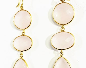 Pink Quartz in Gold Filled Earrings