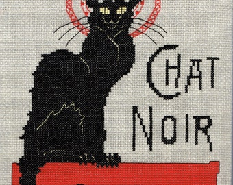 Completed Cross-Stitched Chat Noir