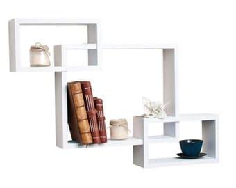 DecorNation Wall Mounted Shelf Set of 3 Floating Intersecting Storage Display Wall Shelves - White