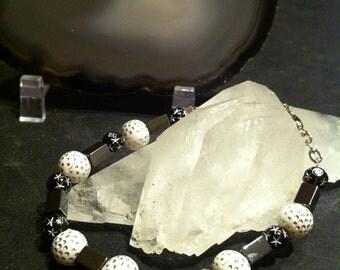 Bracelet beads of whimsy white and black hematite