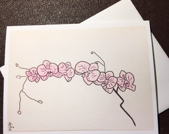 Pink Orchids ona 4x6 note card