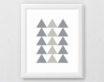 Grey Geometric Art, Grey Wall Art, Scandinavian Art, Triangle Art, Grey Triangle Print, Triangle Wall Print, Modern Minimalist, Neutral Art