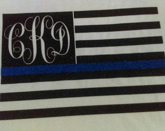 Monogrammed thin blue line flag shirt