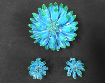 stunning rare green and blue enamel flower brooch and earrings