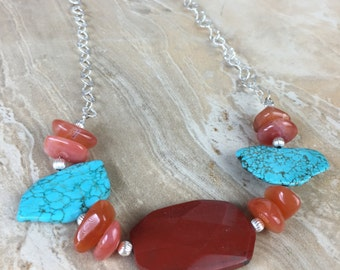 Red Jasper, Carnelian, Magnesite and Sterling Silver Necklace - FREE SHIPPING