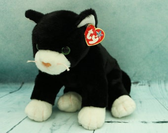 Retired Vintage TY Zip black beanie Buddy cat with Tag