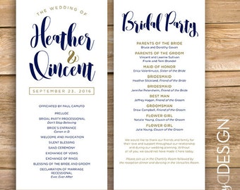 Wedding Programs, wedding program, ceremony, wedding details, bridal party, printable, instant download