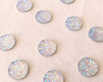 10pcs 8mm/10mm/12mm Druzy Cabochon Metallic Drusy Resin Cabochons Kawaii Cabs Fits 8-12mm Flat Round Bezel Jewelry Supplies white AB