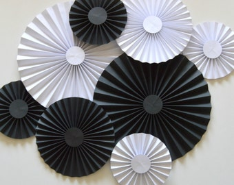 Black and White Rosettes, Paper Fans, Pinwheels,Party Decoration, Cake Backdrop, Photo Backdrop
