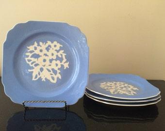 Harker Vintage Cameoware Square Salad Plates, Set of (4) Four Blue Dainty Flower Vintage 1940's Cameoware, Square Salad Plates, PL3527