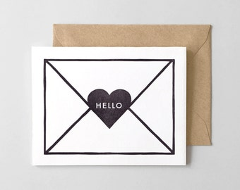 Hello Envelope Letterpress Greeting Card