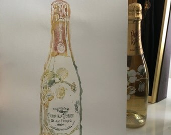 Perrier Jouet fine champagne 11x14 watercolor painting wall art