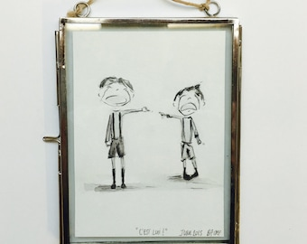 C'EST LUI! - Original framed watercolor painting by Estelle Balme.