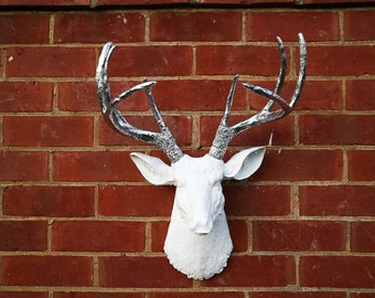 White Resin Deer Head Faux Taxidermy XL FREE SHIPPING