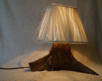 Rustic handmade in Devon table lamp with fabric shade