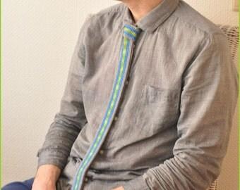 "Handcrocheted Cotton Tie in Green/Blue/Grey ""Green Stream"" (Tall Men Version)"
