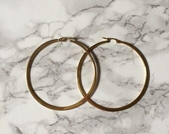 70s stainless steel large hoop earrings    golden silver hoop earrings
