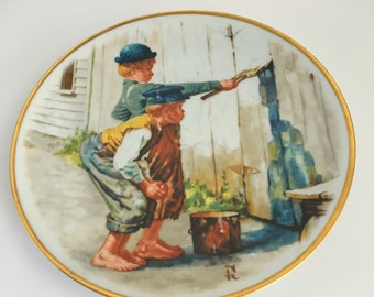 Tom Sawyer plate by Norman Rockwell 1976