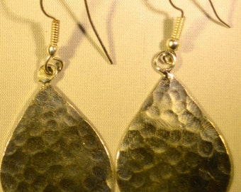 Hammered Silver Drop Sphere Earrings