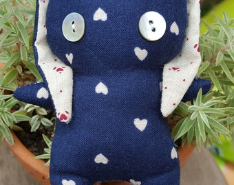 Blue hearts cotton bunny plushie