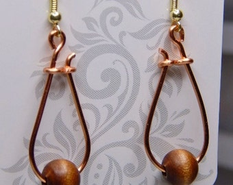 wood & coper bead earrings