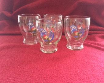 Rooster Vintage Shot Glasses Set of 4