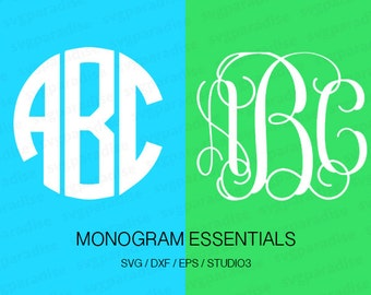 Monogram Svg Bundle, Circle Monogram SVG, Vine Monogram SVG, Svg, Eps, Dxf, Studio3 use with Cricut & Silhouette
