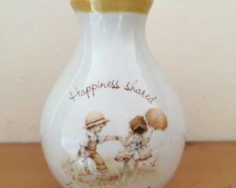 Vintage Holly Hobbie Collectible Bud Vase - Gretchen Stoneware Happiness Shared