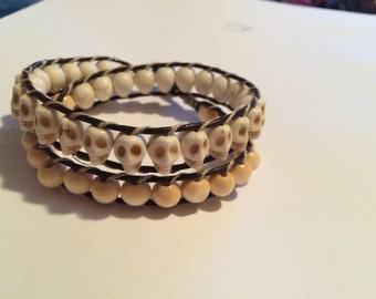 Chan luu inspired ivory skull and wood double wrap bead bracelet