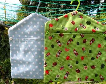 Handmade Cotton Fabric Peg Bags Gnome & Spotty Dotty