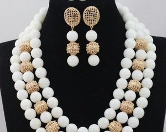 White Coral African Wedding Beads Jewellery Set