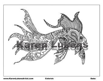 Fancy Fish , 1 Adult Coloring Book Pages, Printable Instant Download