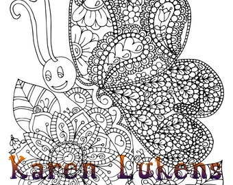 5 pages, Happy Critter Pack #2, 5 Adult Coloring Book Pages, Printable Instant Download