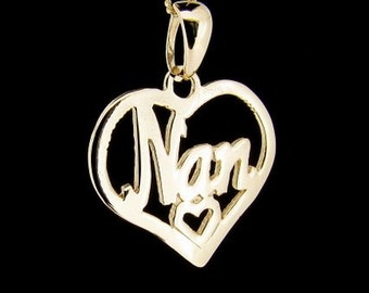9ct Yellow Gold Heart Shape Nan Pendant