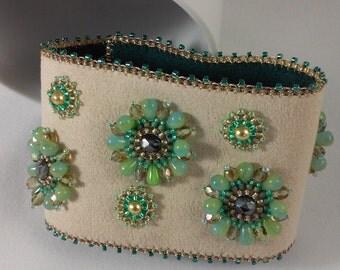 Seed Bead Embroidery Cuff Bracelet (beige ultra suede, seafoam green teardrops, topaz seed beads & fire polished beads, cream pearls)