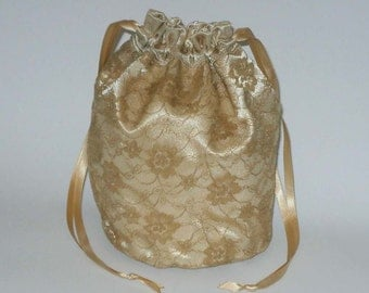 Gold Satin & Lace Dolly Bag Evening Handbag Or Purse For Wedding Or Bridesmaid