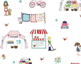 "Riley Blake Designs, MAIN WHITE ""Vintage Market"" by Tasha Noel, per half-yard"