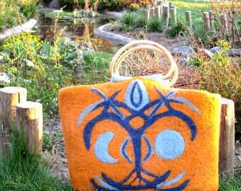 Hand-made, organic felted bag