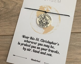 St Christopher Safe Travel wish bracelet Wanderlust