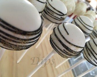 Cake pops, Black, White, Gold Swirls (Christmas, Wedding, Birthday, Bridal Shower)