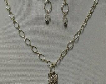 Sparkling Crystal Arrow Necklace/Crystal Earrings # 76