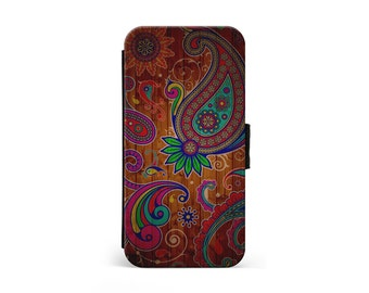 Retro Wooden Paisley Wallet Flip Case, Paisley Pattern, Wood, Vintage, iPhone Case, Samsung Case, iPhone Cover, iPhone Wallet \ lf-pp080