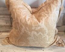 """Big 28"""" pillows, camel color, tan, beige, neutral color, subtle pattern"""
