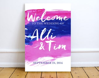 Fall Watercolor Wedding Sign | Welcome Sign | Party Sign |Available As A Printable File, Print Poster, Mounted on Foam Board, or on Canvas