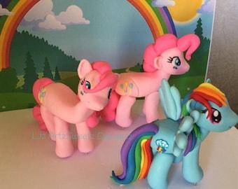 3D Edible Cake Topper Cute My Little Pony Pinkie Pie Rainbow Dash Rareity Fluttershy