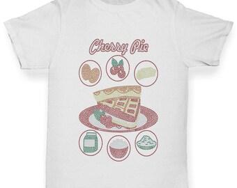 Girl's Cherry Pie Recipe Rhinestone T-Shirt