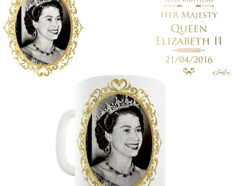Queen Elizabeth II 90th Birthday Ceramic Funny Mug
