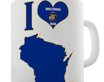 I Love Wisconsin State Ceramic Novelty Mug
